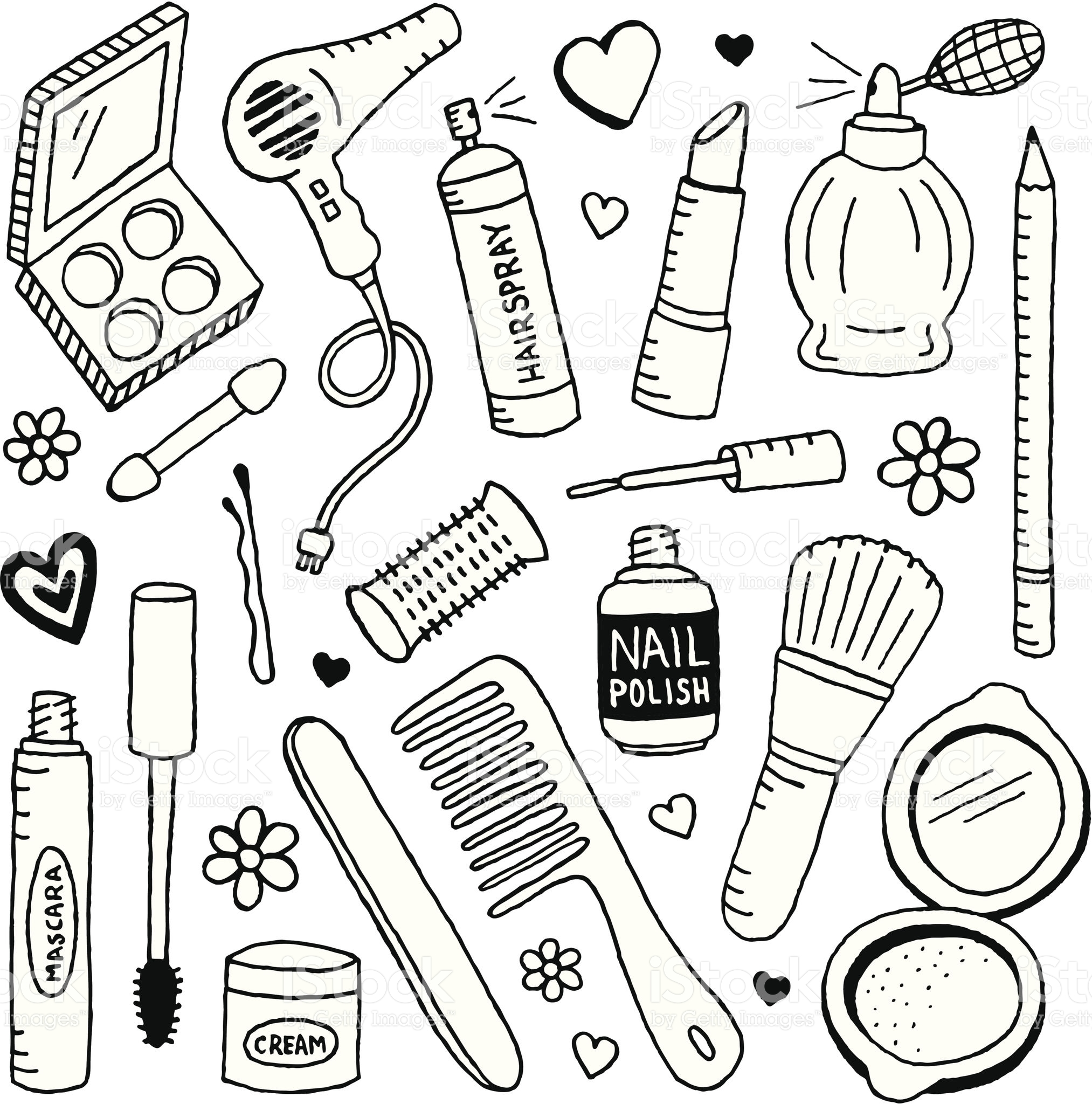 2026x2048 A Doodle Page Of Beauty Supplies And Makeup. Doodles, Vector Art