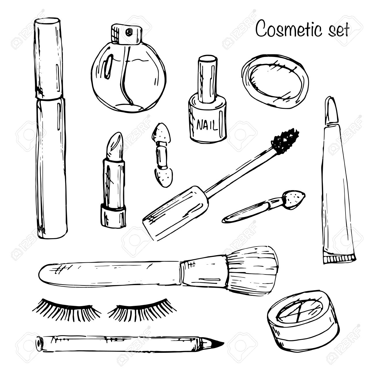 1300x1300 Set Of Various Make Up Products In Sketch Style. Royalty Free
