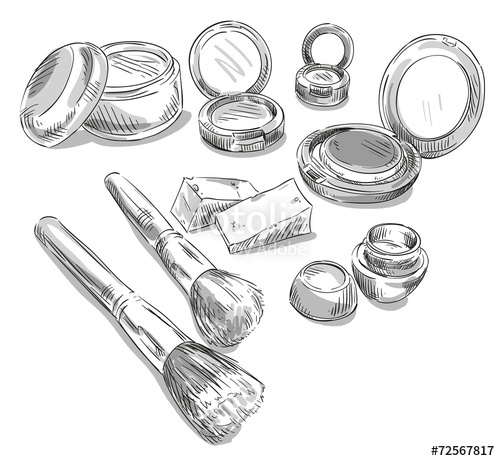 500x461 Makeup Products Drawing. Fashion Illustration. Stock Image