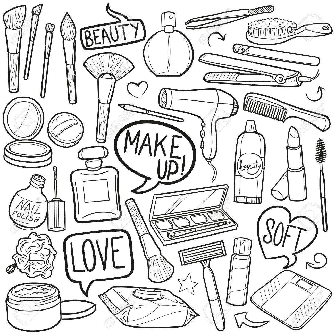 1300x1300 Beauty Make Up Woman Doodle Icon Sketch Vector Art Royalty Free