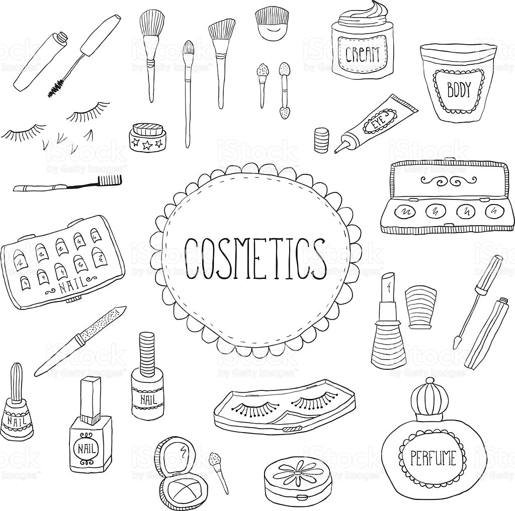1024x1017 Beauty And Cosmetics Icons Vector Doodles On A White Background