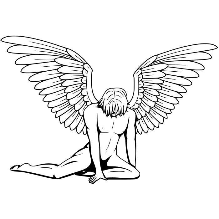 700x700 Fallen Male Angel Wall Sticker Angels Amp Wings Wall Decal Bedroom
