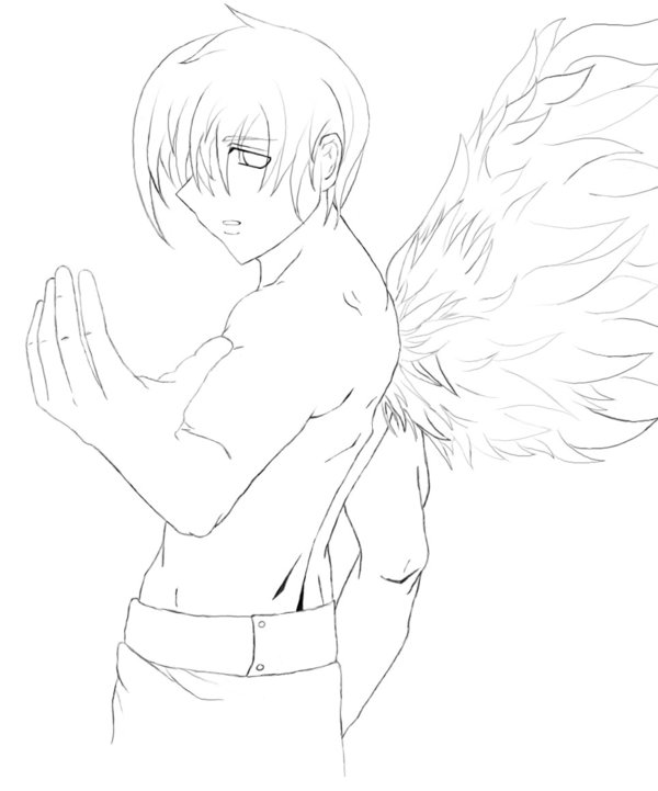 600x721 Random Male Angel Lineart By Musicfreak312
