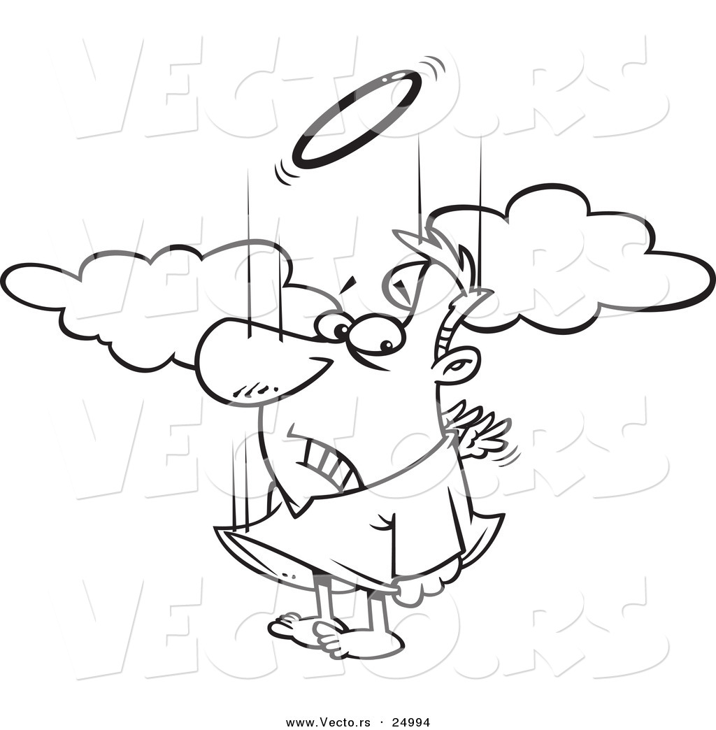 1024x1044 Vector Of A Cartoon Falling Male Angel Trying To Flap His Tiny