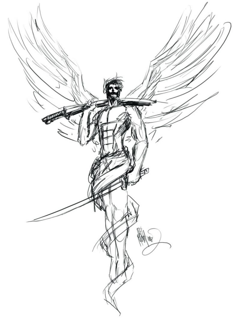 800x1066 Male Angel With Sword Tattoo Design Tattooed Images