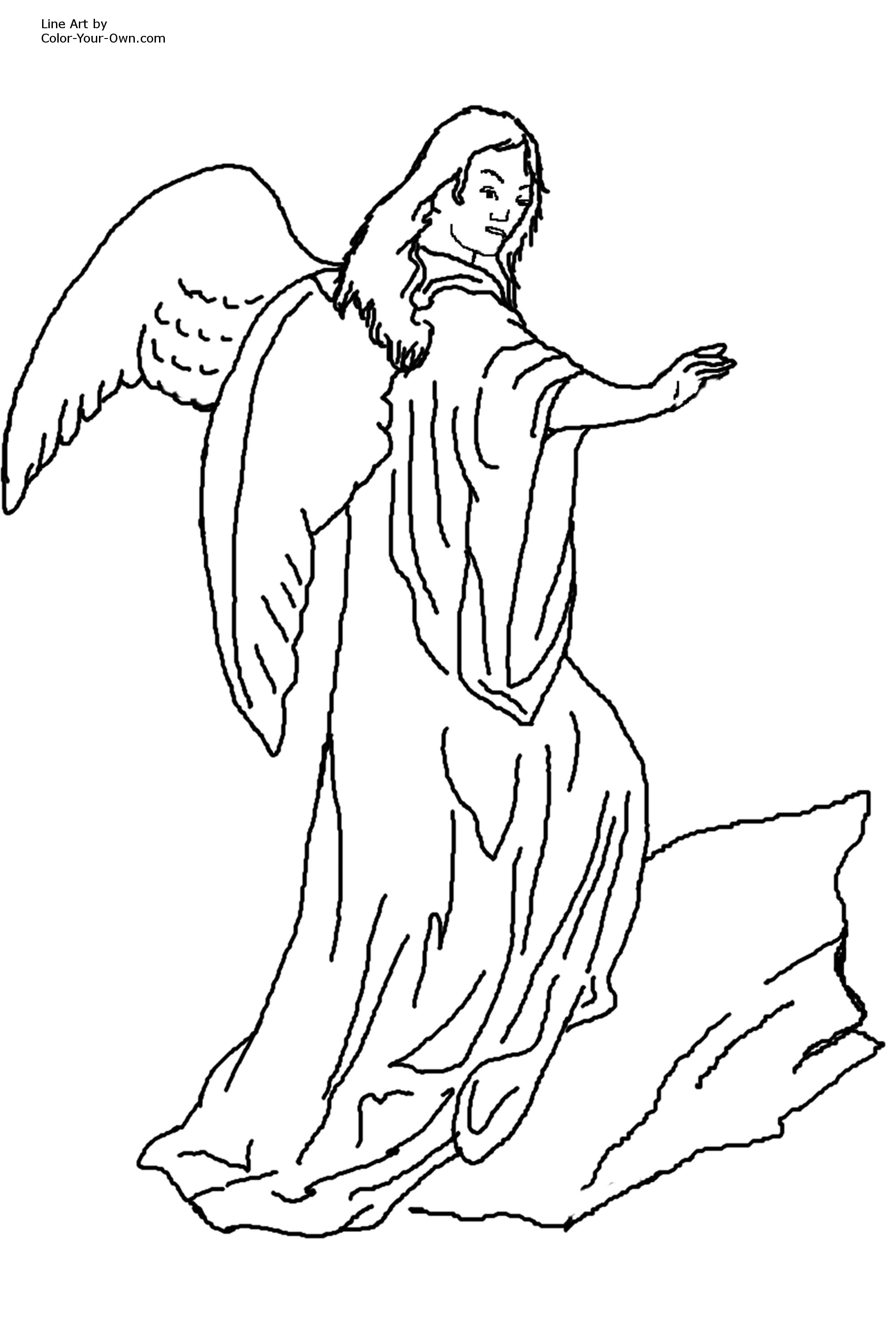 2000x3000 Blessing Angel Coloring Page