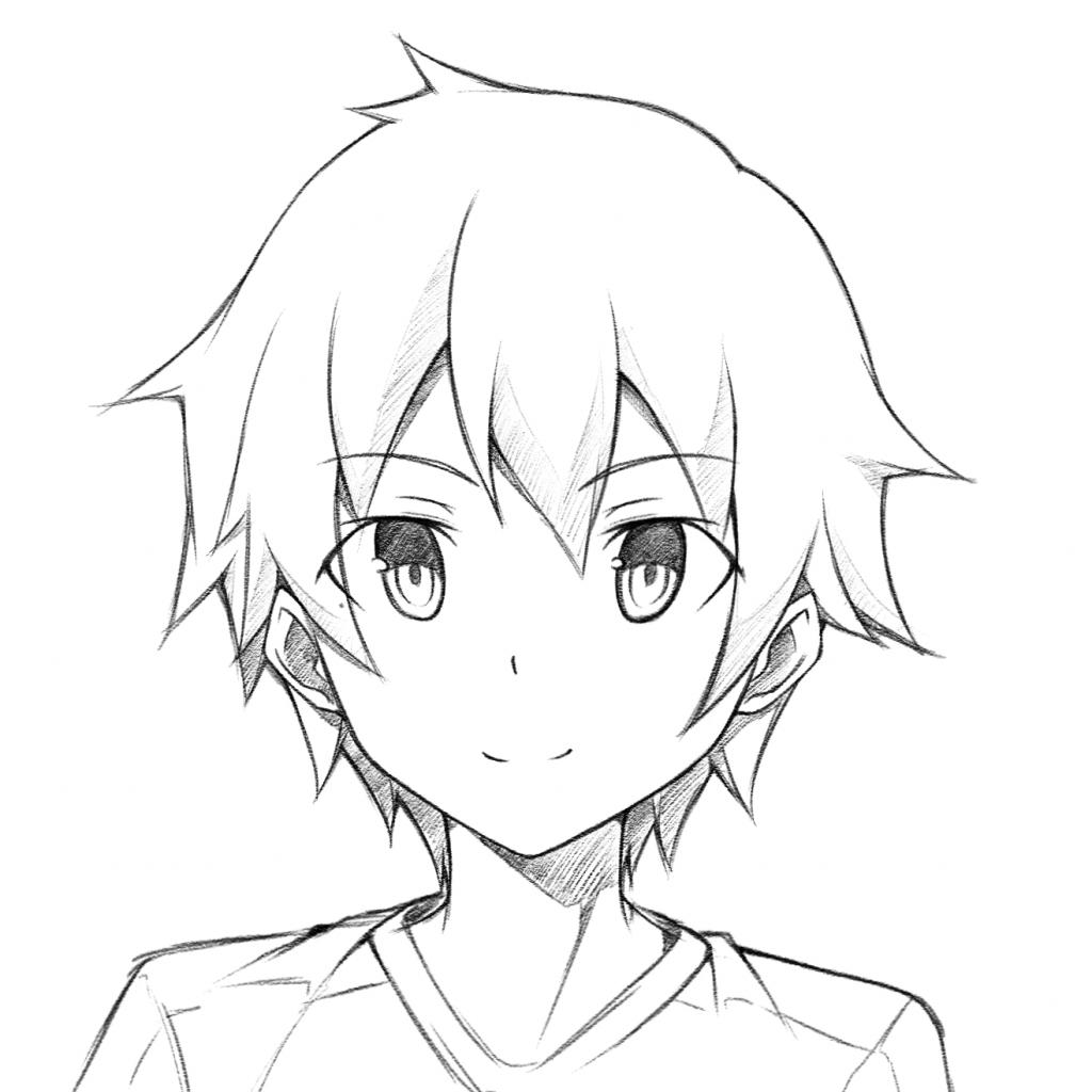 1024x1024 Drawing Male Anime Boy Anime Drawing
