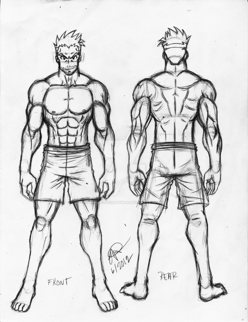 791x1024 Drawing Of Boy Whole Body Easy How To Draw A Male Anime Body (Step