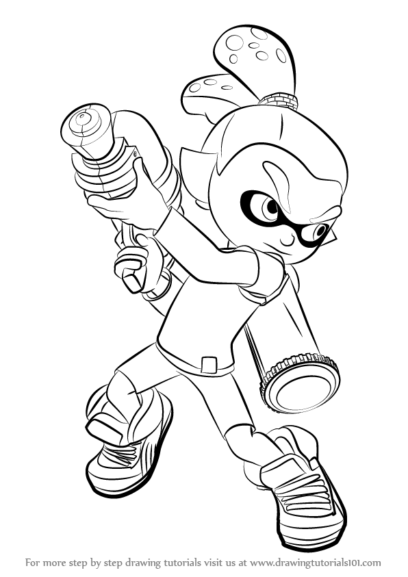 596x843 Learn How To Draw Inkling Male From Splatoon (Splatoon) Step By