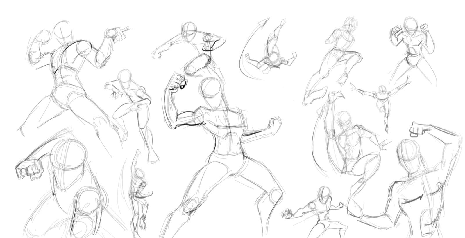 1600x820 Practicing More Action Figure Sketches In Box Forms Of Men