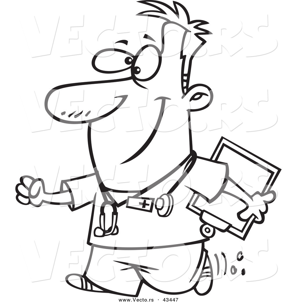 1024x1044 Vector Of A Happy Cartoon Male Nurse Carrying A Clipboard