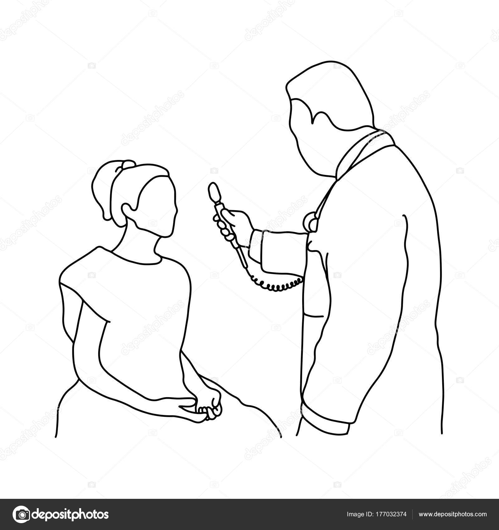 1600x1700 Male Doctor Using Optical Equipment On His Female Patient Vector