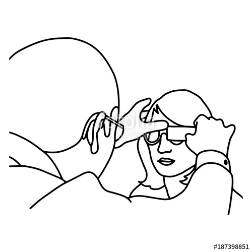 500x500 Male Ophthalmologist Examining Woman With Optical Equipment Vector