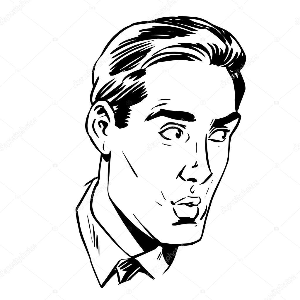 1024x1024 Anxious Emotional Face Men Fear Uncertainty Of Eye Retro Stock