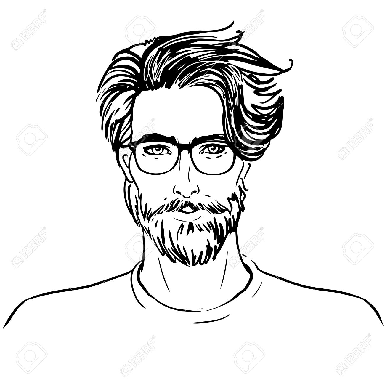 1300x1300 Hipster. Vector Of A Man Face With Beard Royalty Free Cliparts