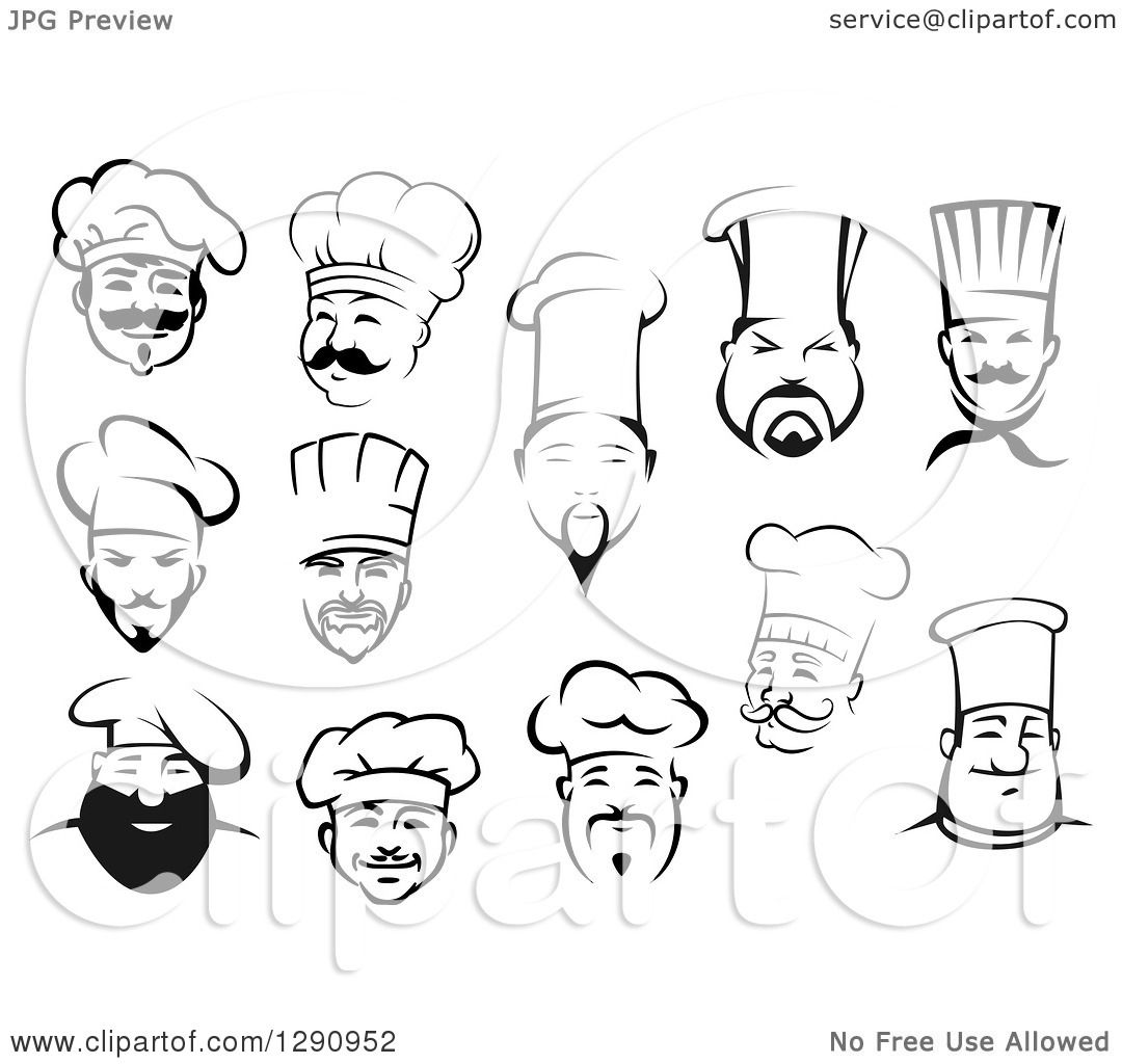 1080x1024 Clipart Of Black And White Male Chef Faces 2