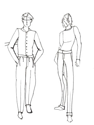 299x400 How To Draw Pants For Male Fashion Figures