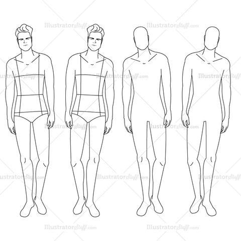 480x480 Male Fashion Croquis Template Illustrator Stuff