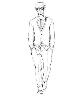 236x337 Men's Fashion Illustration By Alena Lavdovskaya B Amp W