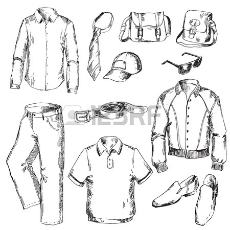 450x450 Set Of Clothes For Men. Pen Sketch Converted To Vectors. Royalty