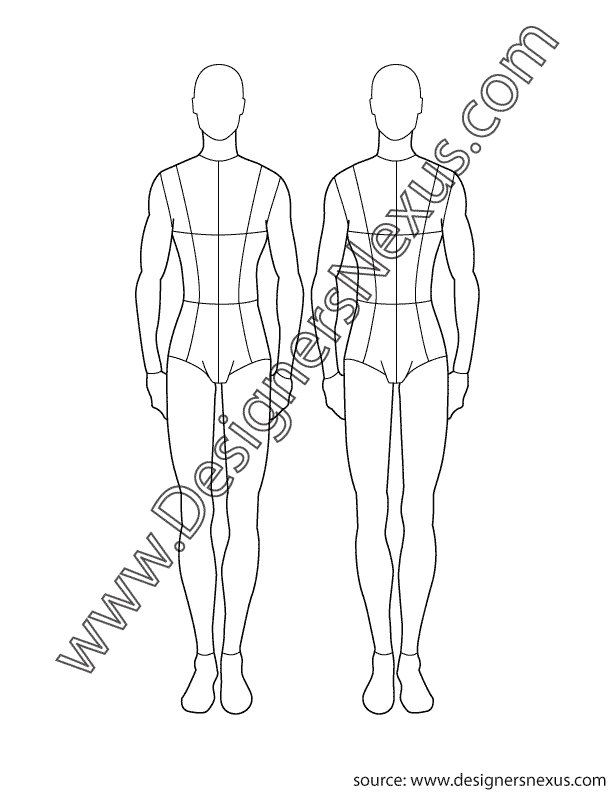 612x792 Free Fashion Croquis Figure Templates