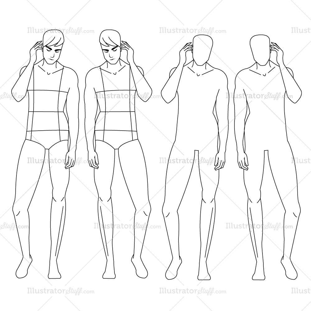 photo about Printable Fashion Croquis referred to as Guy Determine Drawing Templates at  Absolutely free for
