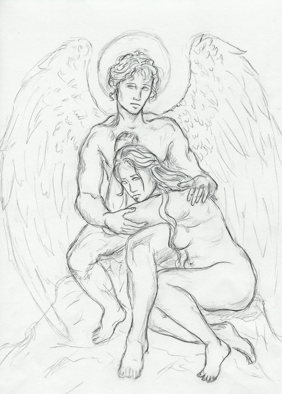 550x767 Guardian Angel Sketch By Sjostrand