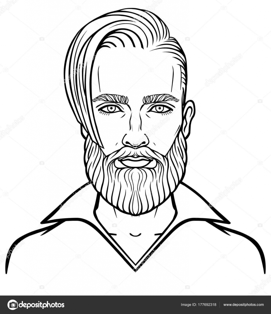 884x1024 Animation Portrait Young Attractive Bearded Man Stylish Hairstyle