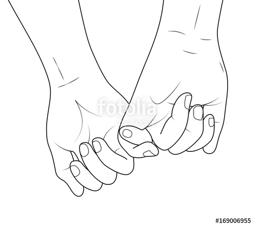 500x445 Holding Hands Outline. Vector Illustration Doodles Hand Drawn