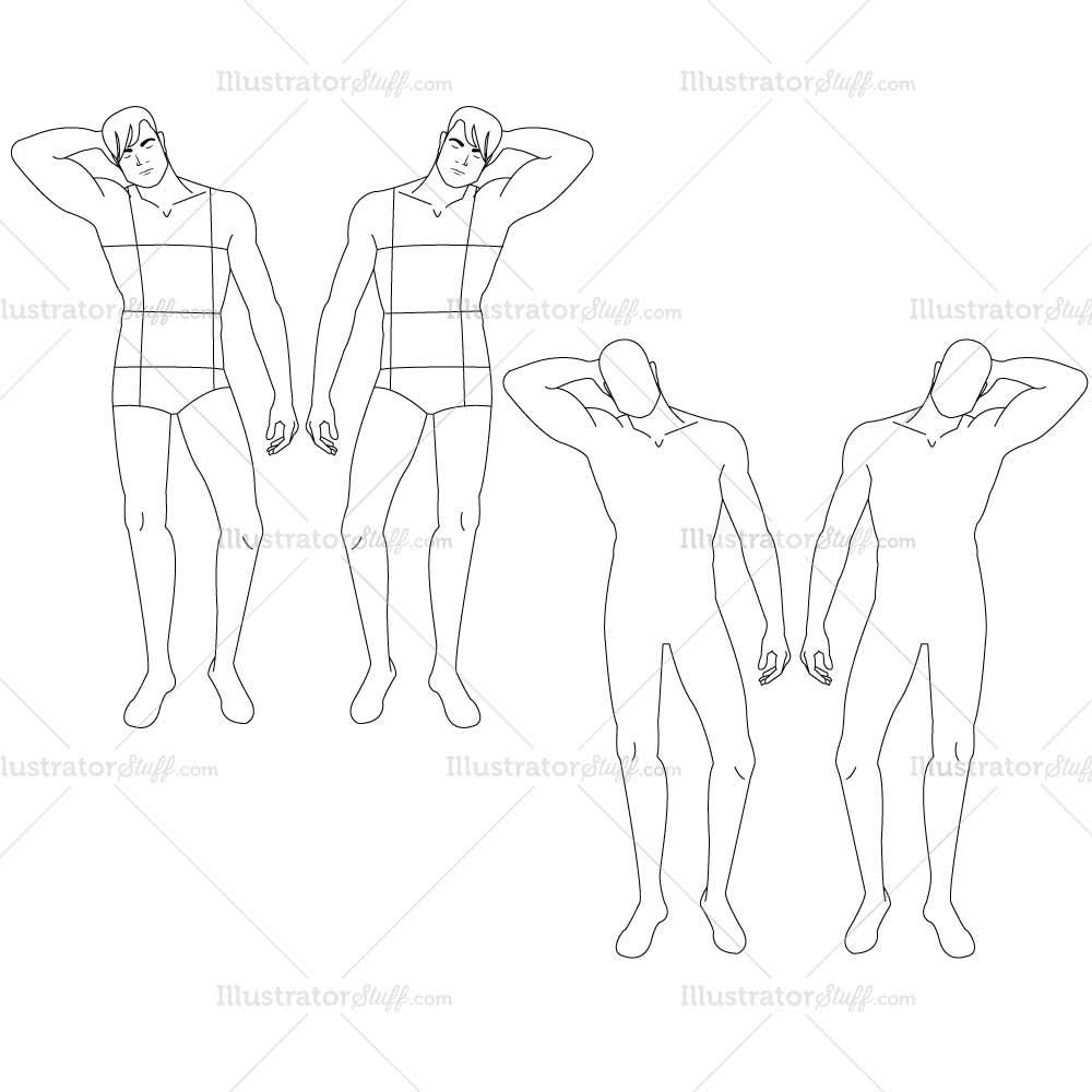 1000x1000 Male Fashion Croquis Template Illustrator Stuff