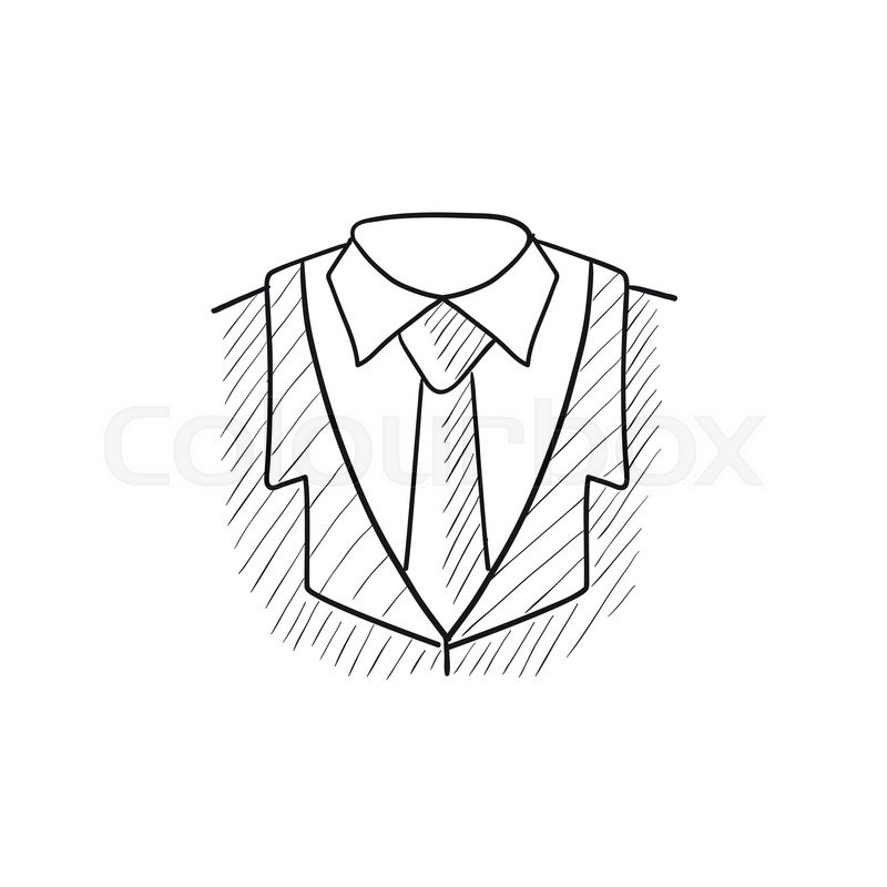 800x800 Male Suit Vector Sketch Icon Isolated On Background. Hand Drawn