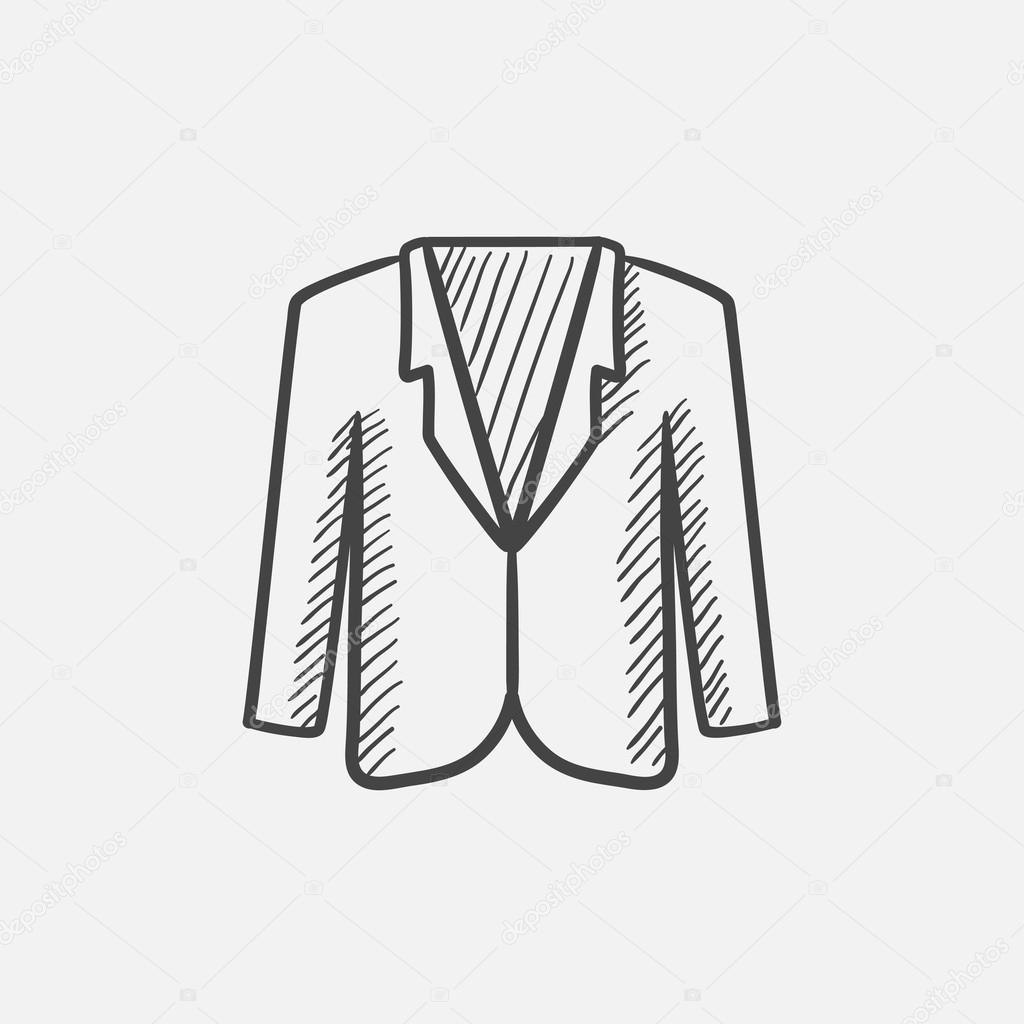 1024x1024 Male Jacket Sketch Icon. Stock Vector Rastudio