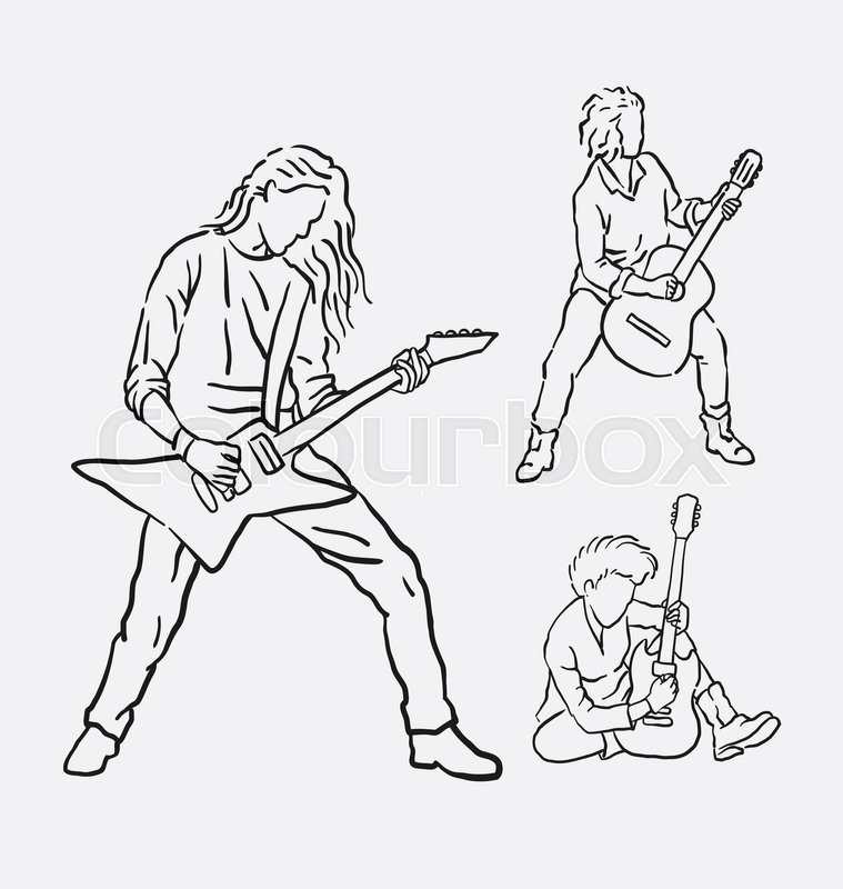 759x800 Guitarist Musician Male Action Hand Drawing. Good Use For Symbol