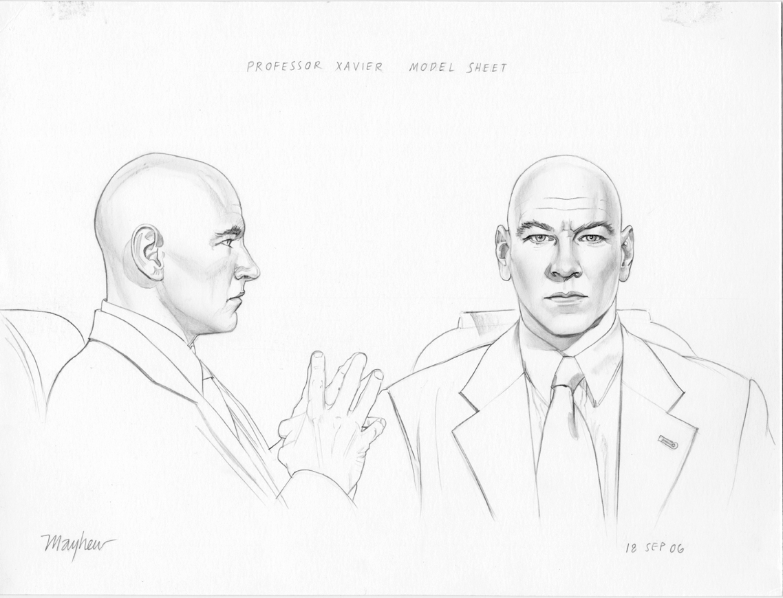1138x870 Jean Grey Professor X Head Studies, In Mike Mayhew's X Men Origins