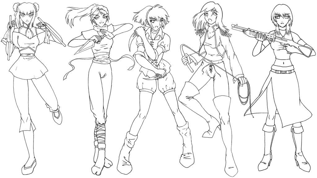 1024x578 Manga Clip Art Female Warriors By Sonialeong