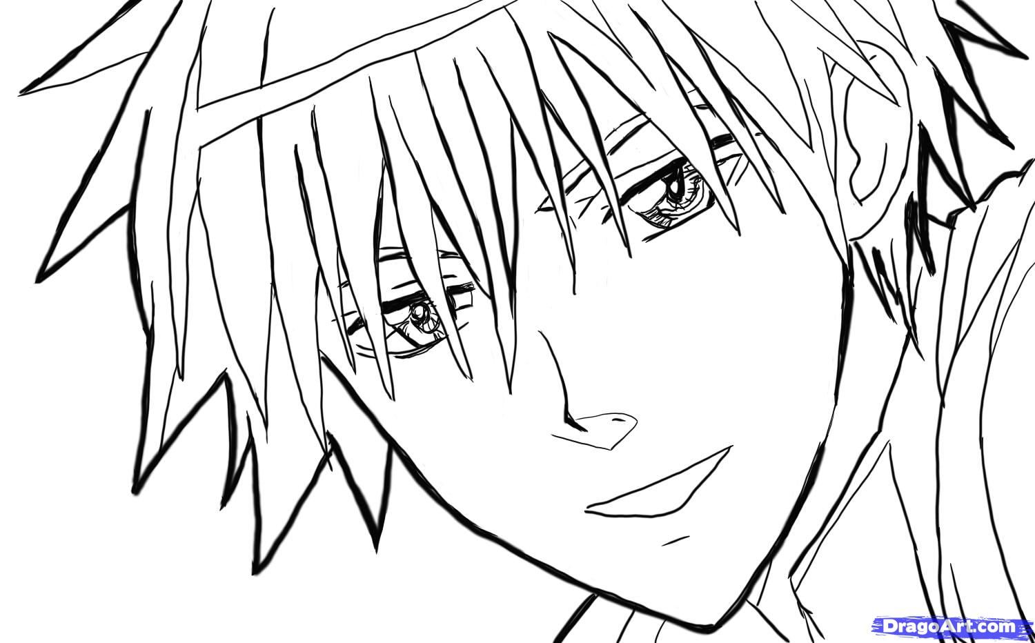1500x932 Anime Male Face Sketches Drawn Manga Male Drawing