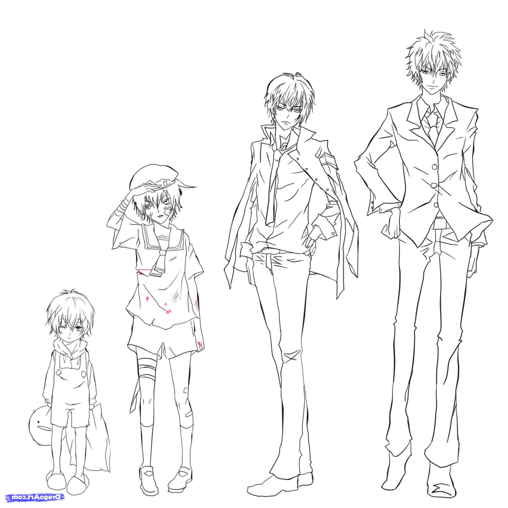 1024x1024 Sketch Anime Digital Boy Full Body Best Male Character Design