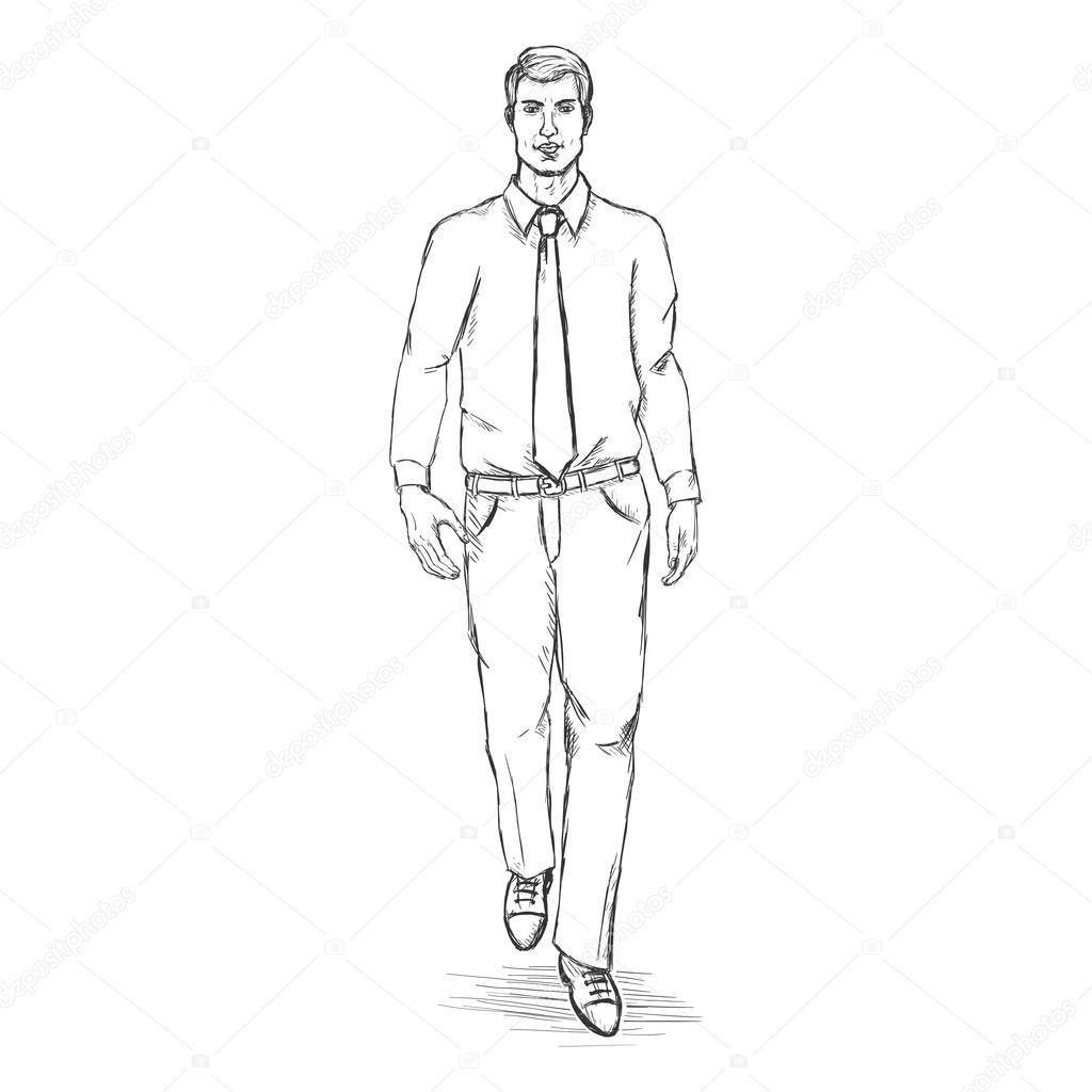 1024x1024 Vector Sketch Man Model Stock Vector Nikiteev