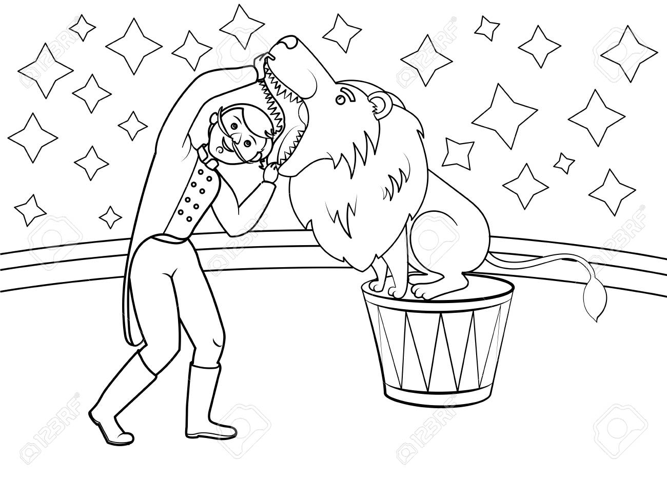 1300x975 Circus Animal Trainer Puts His Head In Lion Mouth. Coloring Book