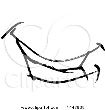 450x470 Clipart Of A Black And White Doodle Sketched Male Mouth