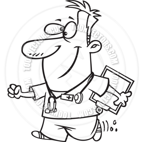 460x460 Cartoon Male Nurse (Black And White Line Art) By Ron Leishman