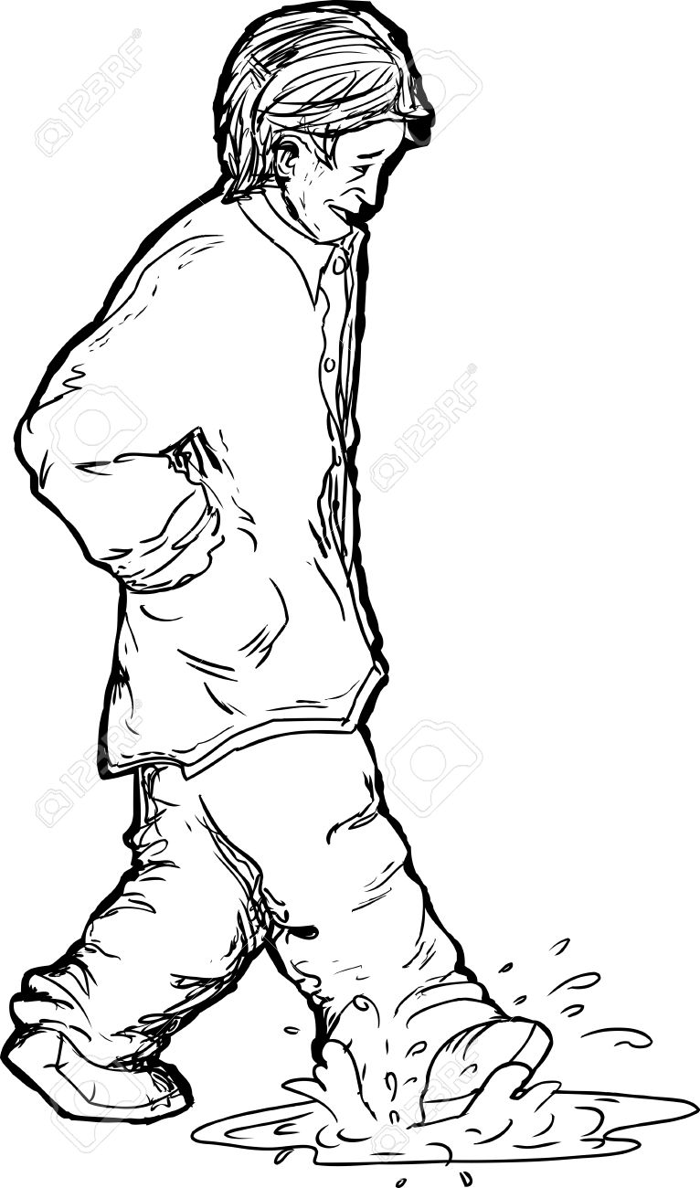 766x1300 Outline Drawing Of Man Stepping In Puddle Royalty Free Cliparts
