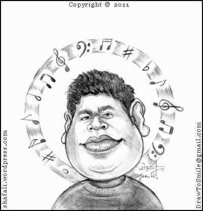 400x416 The Caricature, Cartoon, Drawing, Portrait Of A R Rahman (Rehman