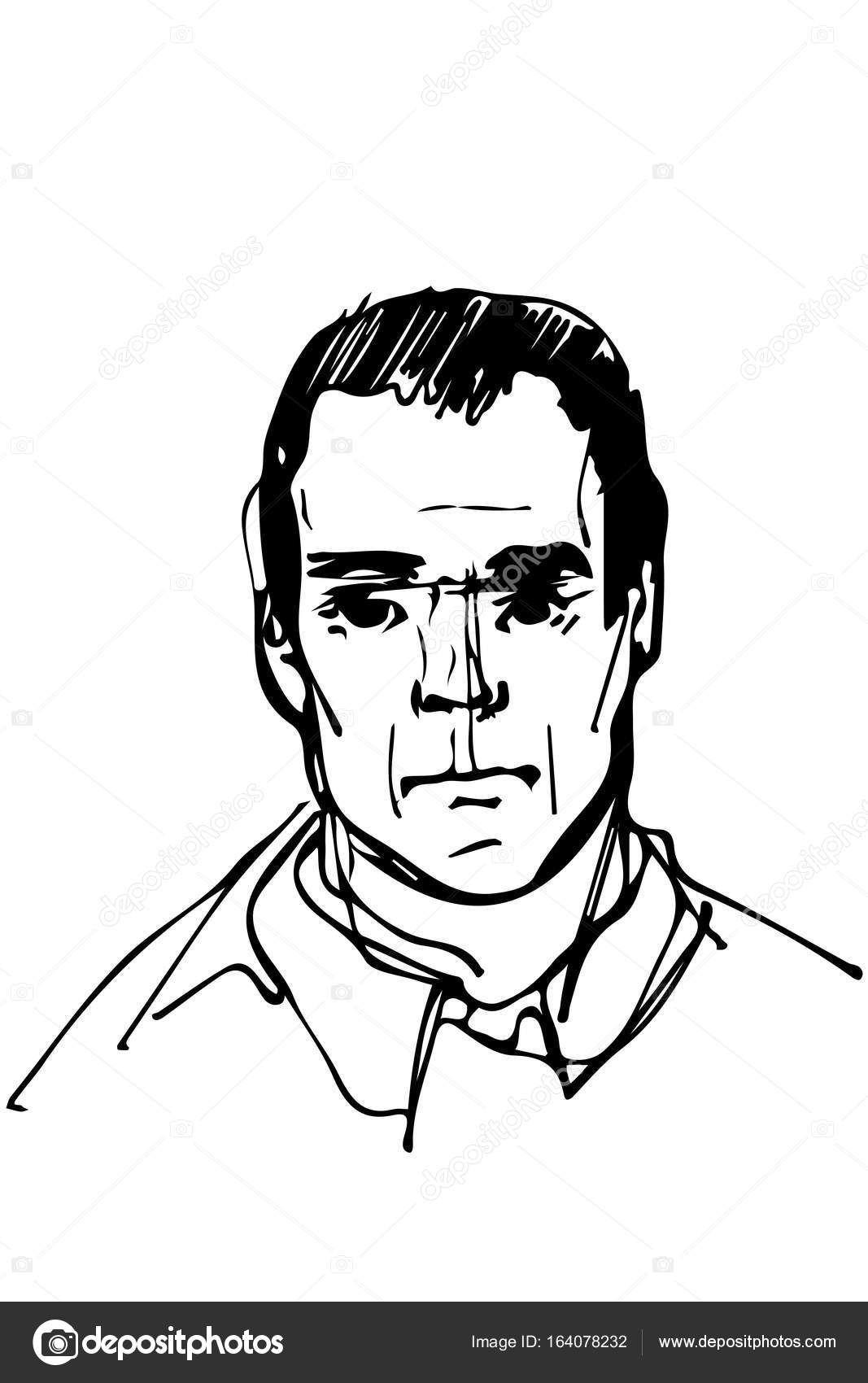 1067x1700 Sketch For A Portrait Of An Adult Male Stock Vector Artex67