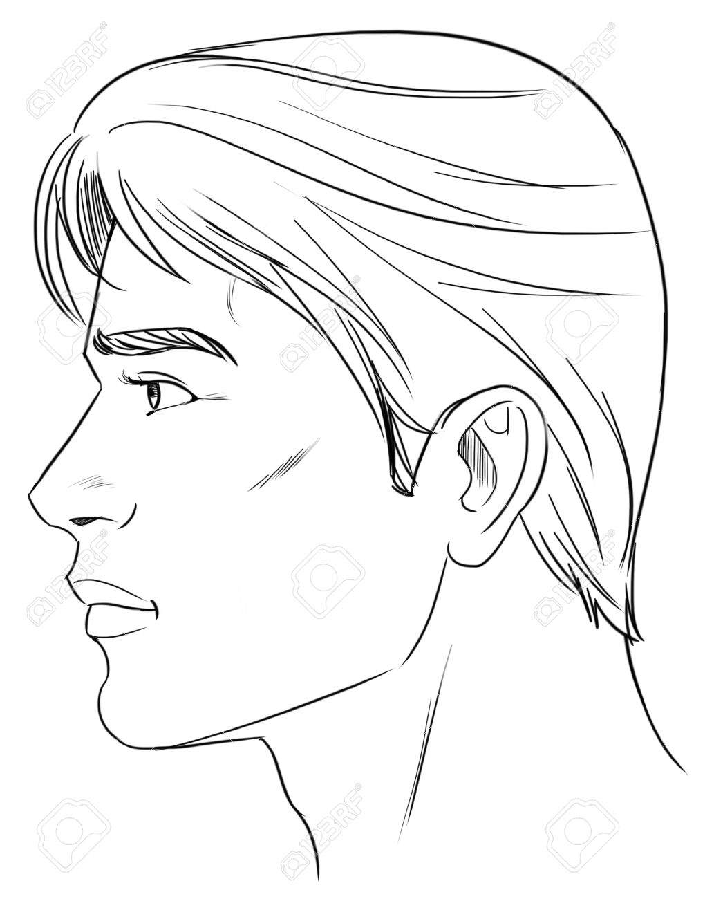 1046x1300 Outline Side Profile Of A Human Male Head Royalty Free Cliparts