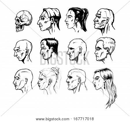 450x423 Set Different Male Female Faces. Vector Amp Photo Bigstock