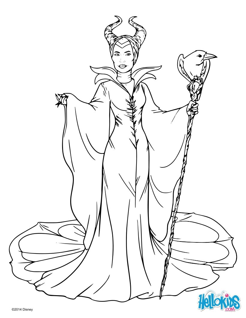 820x1060 Maleficent With Cane Coloring Pages