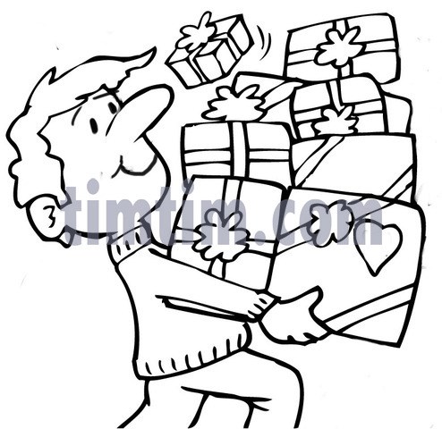 494x480 Free Drawing Of A Christmas Dad Shopping Bw From The Category