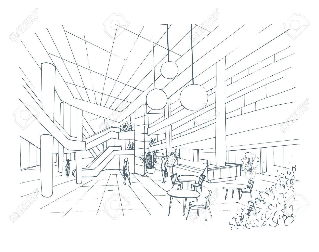 1300x1026 Modern Interior Shopping Center, Mall. Contour Sketch Illustration