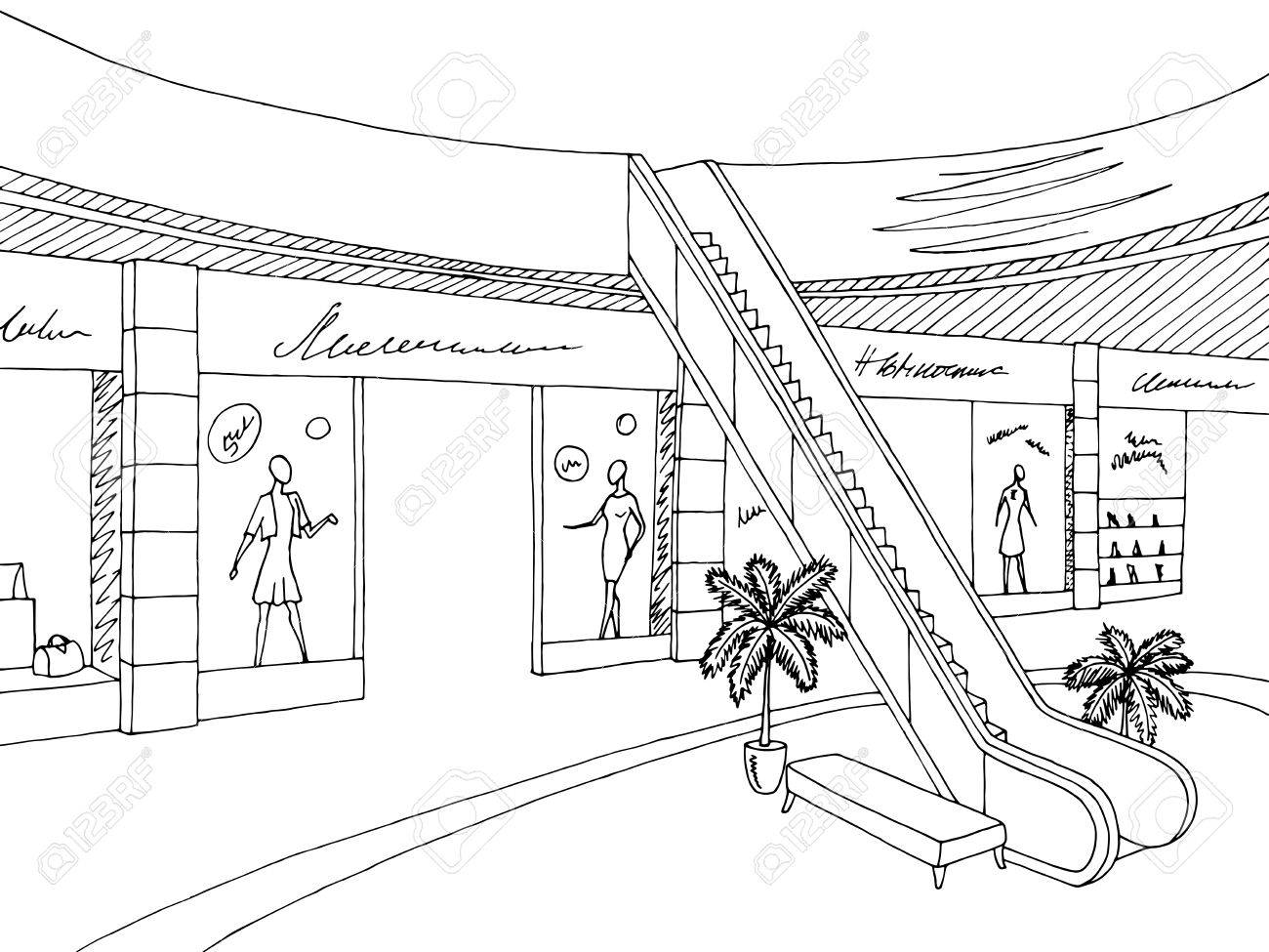 1300x975 Shopping Mall Graphic Black White Interior Sketch Illustration